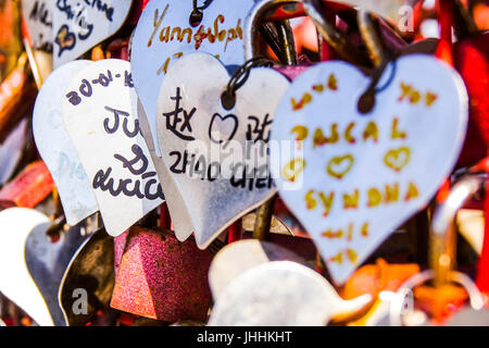 Thousands of Love Locks attached to the Love Sculpture at Tagus Riverwalk in Lisbon - LISBON, PORTUGAL 2017 - Stock Photo