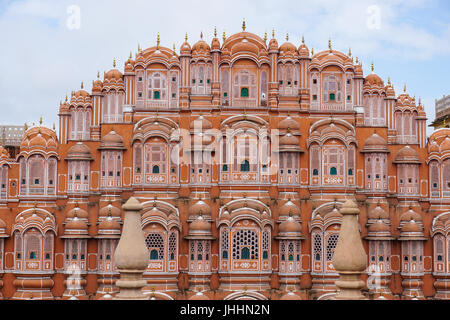 Facade of Hawa Mahal palace (Palace of the Winds) in Jaipur, Rajasthan, India. The city of Jaipur was founded in - Stock Photo