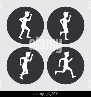 white background with black circles set of silhouettes of men athletes running - Stock Photo