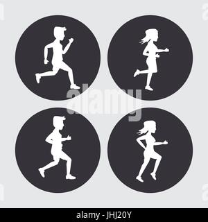 white background with black circles set of silhouettes of men and women athletes running - Stock Photo