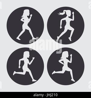 white background with black circles set of silhouettes of women athletes running - Stock Photo