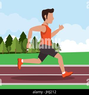 colorful background with male athlete running in athletic track - Stock Photo