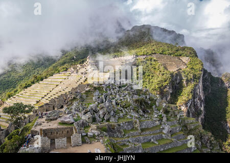 Terraces at Machu Picchu Inca Ruins - Sacred Valley, Peru - Stock Photo