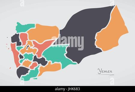 Yemen Map with states and modern round shapes - Stock Photo