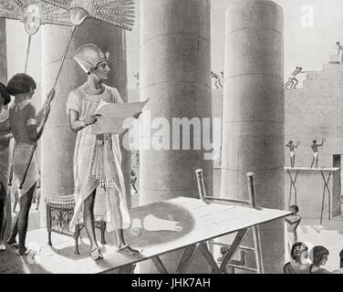 Seti I building the Temple of Abydos, Egypt.  Menmaatre Seti I or Sethos I.  Pharaoh of the New Kingdom Nineteenth - Stock Photo