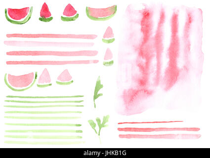 A set of elements painted in watercolor. Collection Watermelon mood. - Stock Photo