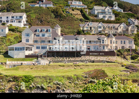 17 June 2017: Woolacombe, North Devon, England, UK - The Watersmeet Hotel, above Combesgate Beach, Woolacombe. - Stock Photo