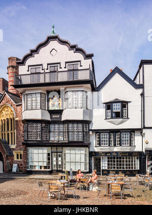20 June 2017: Exeter, Devoin, England, UK - Mol's Coffee House, a 1596 timber framed building in Cathedral Close. - Stock Photo