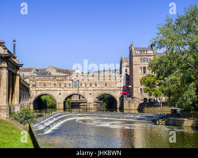 5 July 2017: Bath, Somerset, England - Pulteney Bridge and Weir on the River Avon in Bath, Somerset. - Stock Photo