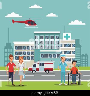 city landscape scene building hospitals with ambulance and helicopter flying overhead and patients with specialist - Stock Photo