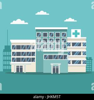 city landscape scene background with buildings and hospitals - Stock Photo