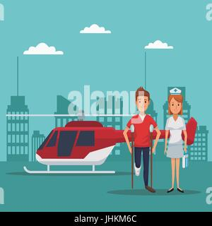 city landscape scene building hospitals with ambulance and helicopter flying overhead closeup specialist doctors - Stock Photo