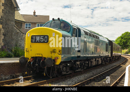 British Rail Class 37 or English Electric Type 3 diesel locomotive built between 1960 to 1965 preserved on the Llangollen - Stock Photo