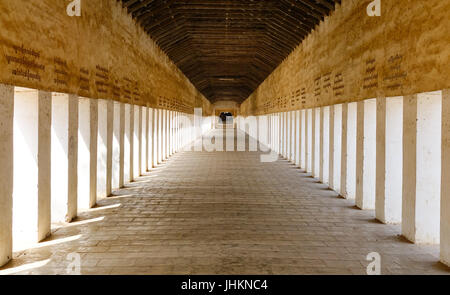 Empty lobby of Shwezigon Pagoda in Bagan, Myanmar. The pagoda is a Buddhist temple located in Nyaung-U, a town near - Stock Photo