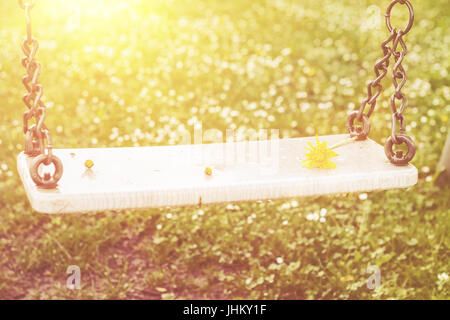 Abandoned swing in warm sunny light with flowers in the spring season - Stock Photo
