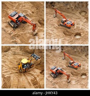 Set of excavators at sandpit during earthmoving works. Construction of concrete foundation of new building. - Stock Photo