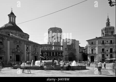 Plaza de la Virgen, Valencia. - Stock Photo