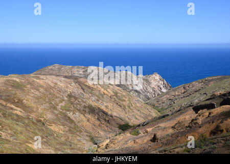 Geological landscape of Porto Santo Island, the northern coastline near Pico Cabrita - Stock Photo