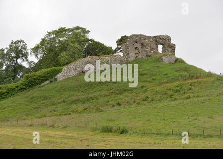 Ruins of Skelbo Castle, a 14th century keep, located in the Highlands near Dornoch in Sutherland, Scotland, UK - Stock Photo