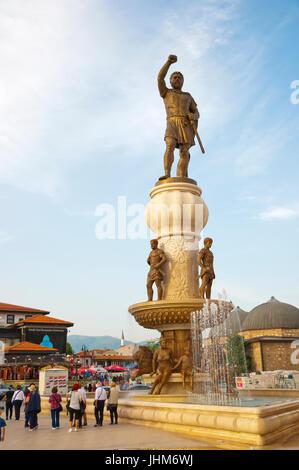 Philip of Macedon, Warrior statue, Plostad Karposovo Vostanie, Skopje, Macedonia - Stock Photo