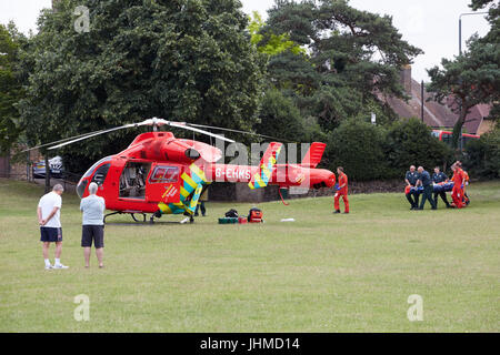 Bexley Village, London, UK. 14th July, 2017. A woman who suffered serious injuries after a fall in Bexley village - Stock Photo