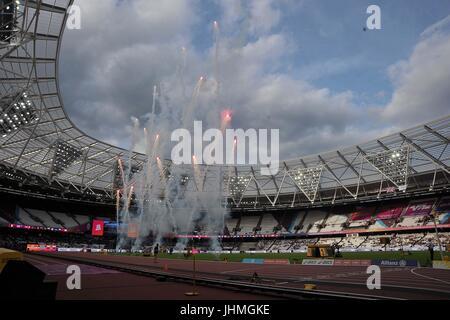 London, UK. 14th July, 2017. Fireworks to open the games. World para athletics championships. London Olympic stadium. - Stock Photo