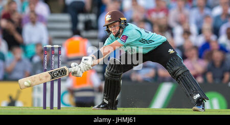 London, UK. 14 July, 2017. Ollie Pope batting for Surrey against Kent in the NatWest T20 Blast match at the Kia - Stock Photo