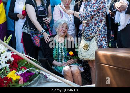 Jul 2, 2017 - Madrid, Spain - Ascension Mendieta during the burial of Timoteo Mendieta. Civil cemetery of Madrid. - Stock Photo