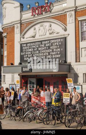 July 14, 2017 - London, UK - London, UK. 14th July 2017. A community protestby local cinema-goers outside Brixton's - Stock Photo