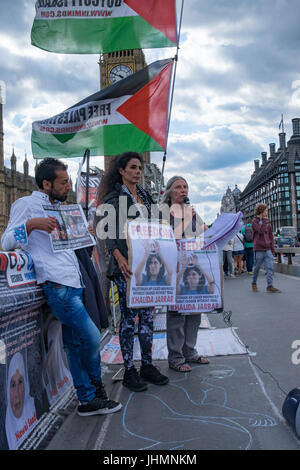 London, UK. 14th July, 2017. London, UK. 14th July 2017. Inminds Palestinian Prisoners Campaign protest on Westminster - Stock Photo