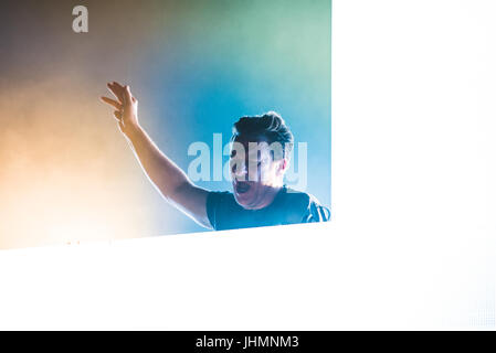 Grugliasco, Italy. 14th July, 2017. July 14, 2017: The Austrian producer and DJ Parov Stelar performing with his - Stock Photo