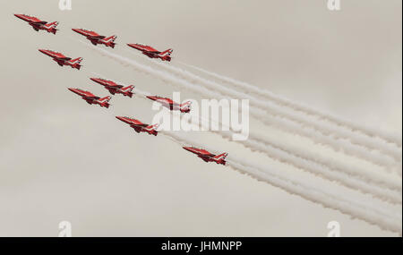 Gloucestershire, UK. 14th July, 2017. The RAF Aerobatic Team, the Red Arrows perform at the Royal International - Stock Photo