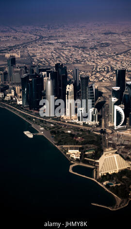 Aerial view of Doha, Middle East, Qatar - Stock Photo