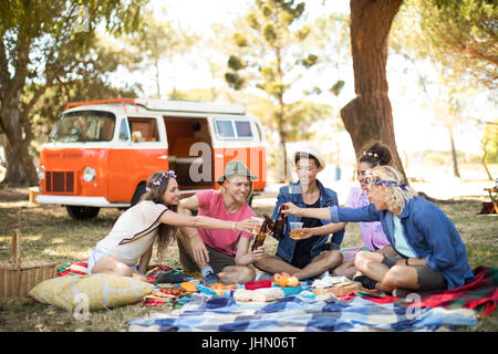 Smiling friends toasting beer while sitting on field during picnic - Stock Photo