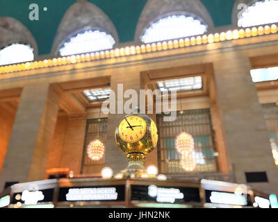 Clock and Information Booth on Grand Central Terminal, NYC, USA - Stock Photo