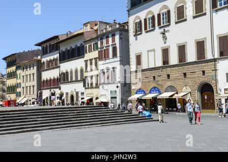 Firenze, Italy - 5 July 2017: people walking on Saint Lorenzo square at Florence on Italy. - Stock Photo