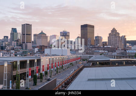 Montreal, CANADA - 13 July 2017: Montreal skyline in summer from King Edward Quay Belvedere - Stock Photo