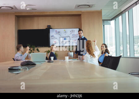 Business entrepreneurs discussing during meeting in board room - Stock Photo
