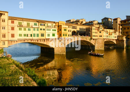 Firenze, Italy - 5 July 2017: Famous bridge of Ponte Vecchio in Florence on Italy. - Stock Photo