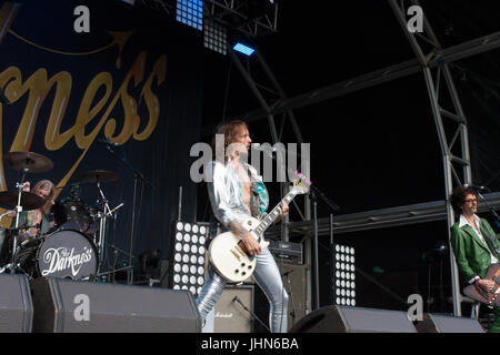 The Darkness headline at Coventry's Godiva Festival in July 2017 - Stock Photo