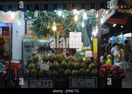 Fresh Durian for sale in Chinatown, Singapore - Stock Photo