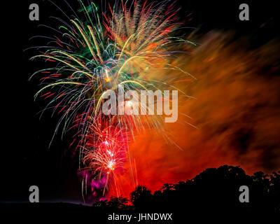 4th of July Fireworks. Miami. Florida. USA. - Stock Photo