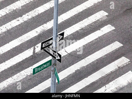 traffic signs at a nyc intersection indicating direction and location with a cross walk - Stock Photo
