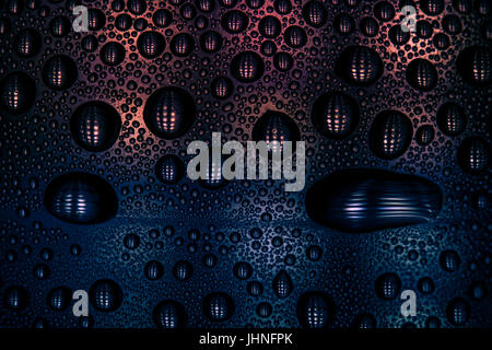 Alien Skin looking artwork. A photo of condensation droplets on the inside of a plastic water bottle, photographed - Stock Photo