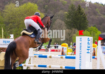 Felix Vogg on Onfire, show jumping of the CIC 3* competition at the International Marbach Eventing 2017, Marbach, - Stock Photo
