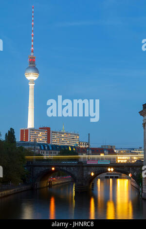 City view of Berlin in the Spree river at museum island, with the tv tower in the background - Stock Photo