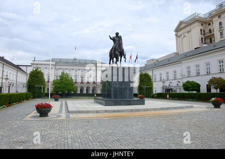 WARSAW, POLAND - JULY 8, 2017: Statue of Prince Jozef Poniatowski on courtyard of Presidential Palace in Warsaw - Stock Photo
