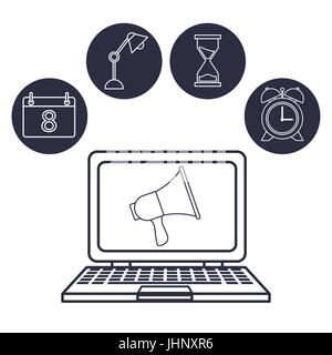 white background with silhouette laptop with megaphone in display with icons office - Stock Photo