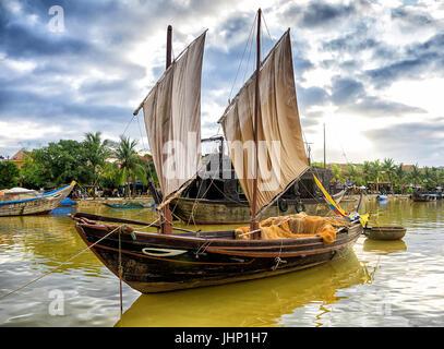 Boat  on Thu Bon River, Hoi An, Quang Nam province, Vietnam - Stock Photo