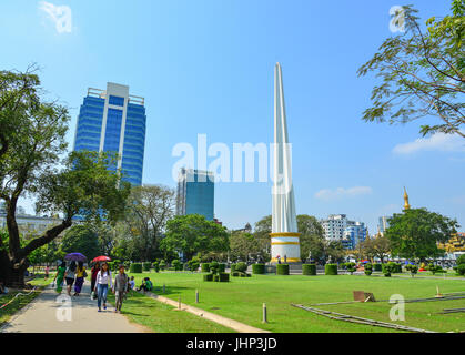 Yangon, Myanmar - Feb 13, 2017. Independence Monument at Mahabandoola park in Yangon, Myanmar. Yangon is a former - Stock Photo
